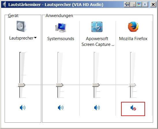 Kein Ton mehr im Firefox -Läutstärkemixer - Firefox ist stummgeschaltet