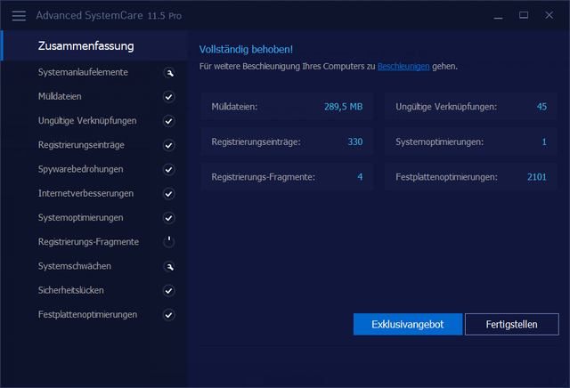 Advanced SystemCare Optimierung
