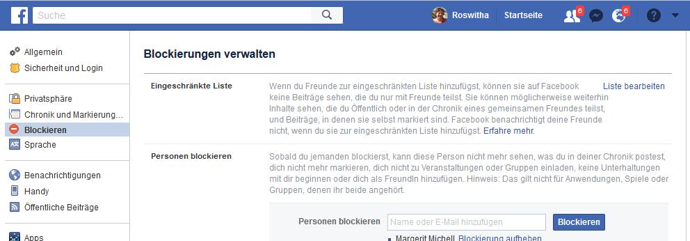 Facebook Blockierungen verwalten