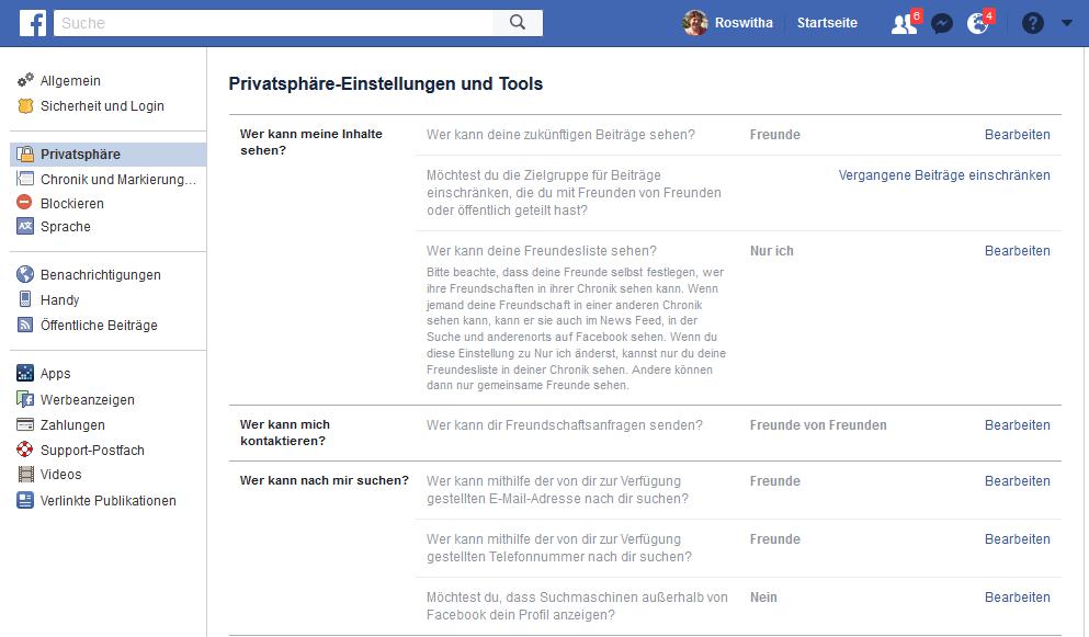 Facebook Privatsphäre-Einstellungen