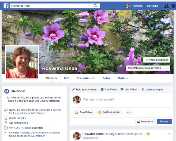 Meine Facebook Profilseite