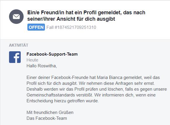 Fake-Profil FB-Nachricht Prüfung