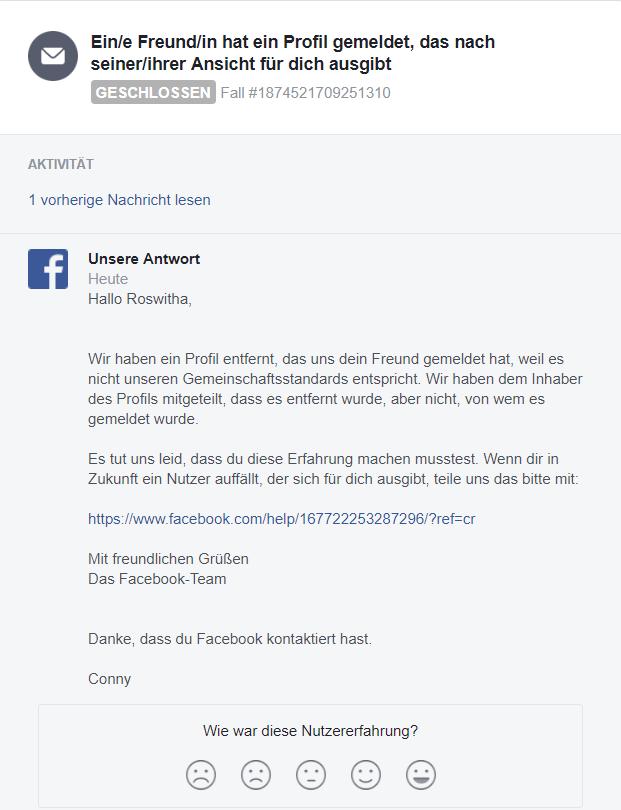 Fake-Profil von Facebook gelöscht