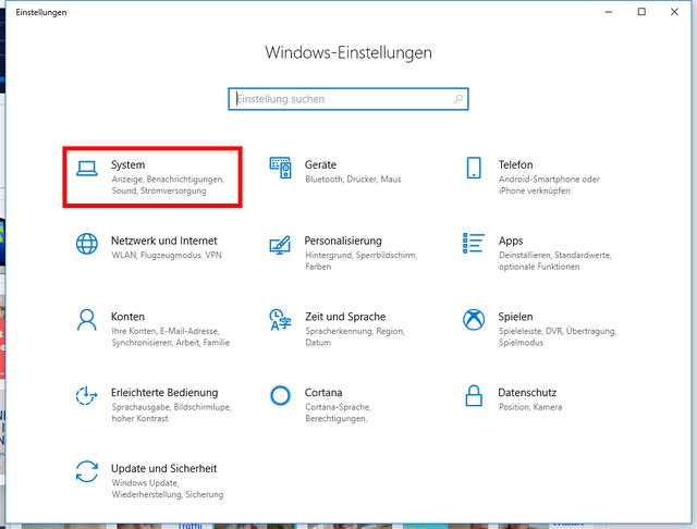 Windows-Einstellungen