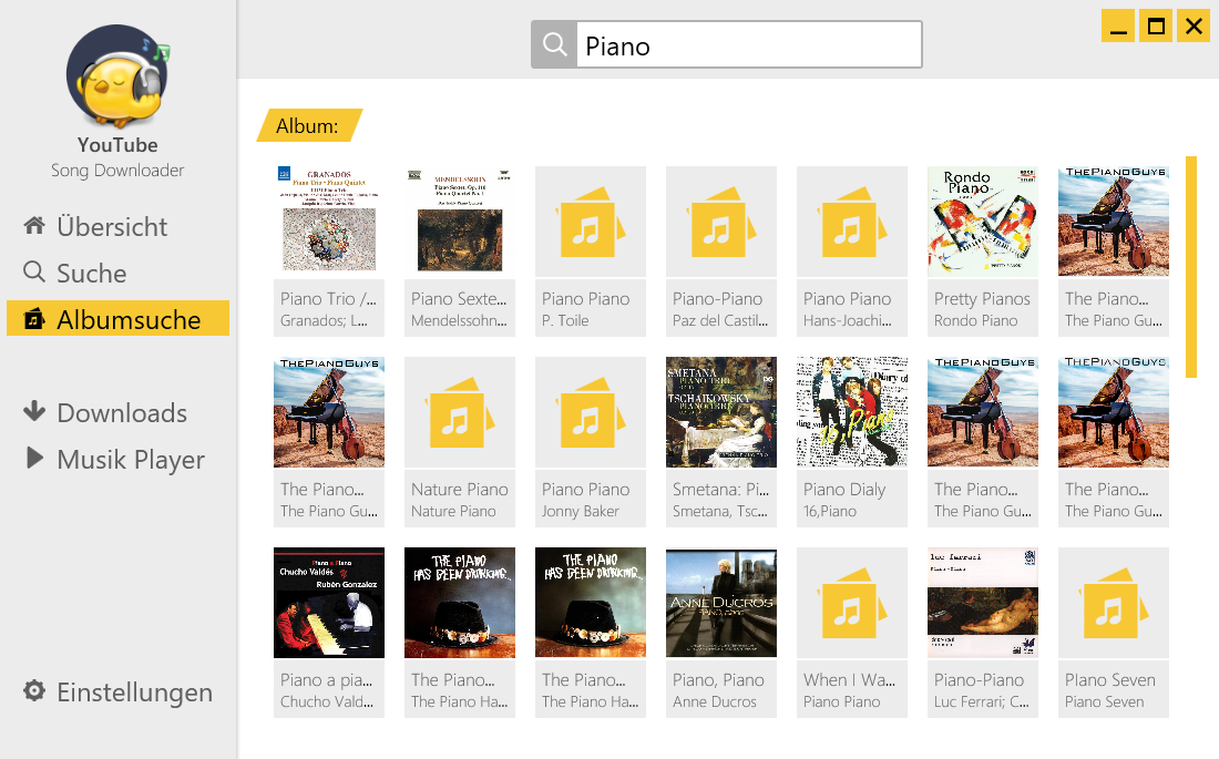 """YouTube Song-Downloader"" Albumsuche nach Piano-Musik"