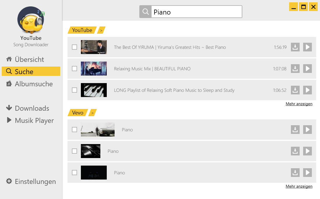 YouTube Song-Downloader Suche nach Piano-Musik