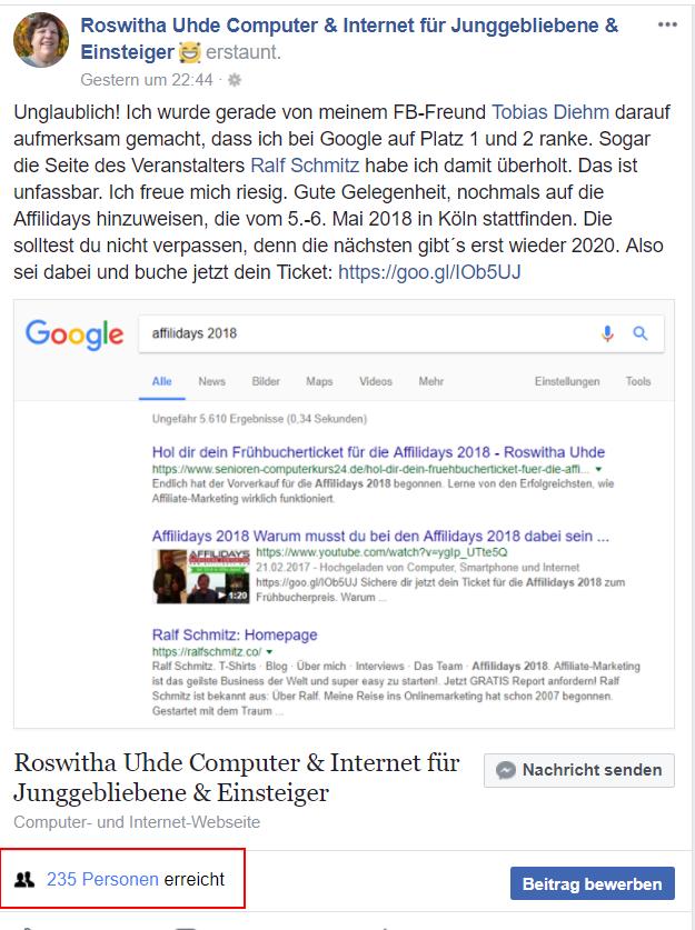 Der Beitrag Google-Ranking hat organisch 234 Personen erreicht